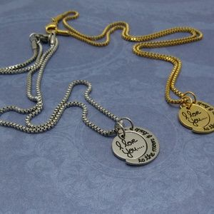 """Jewelry - I love you to the moon and back""""-Steel Necklace"""